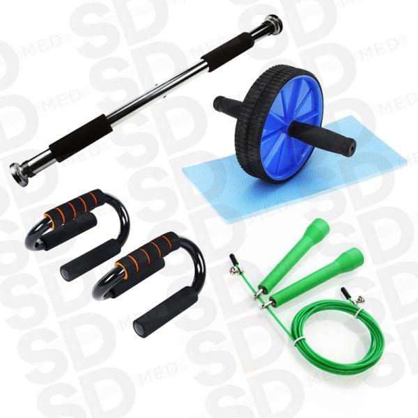 barra puerta + rueda ab + push up + speed rope