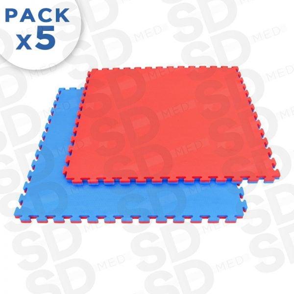 pack 5 tatami 2,5 cm rojo azul