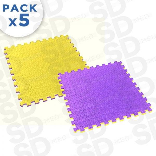 pack5 tatami 2,5 cm amarillo morado
