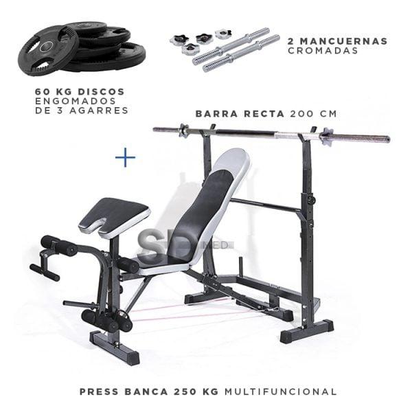 Press-banca-250-extras-barra-mancuernas-discos-3agarres