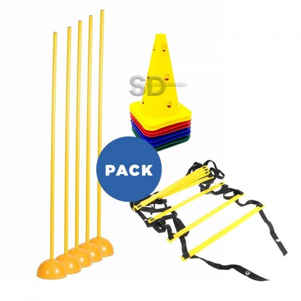 Pack Multi agilidad – Escalera + 10 Conos orificios + 5 Sticks + 5 Bases